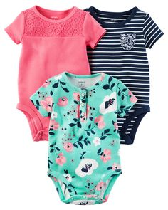 Baby Girl 3-Pack Short-Sleeve Bodysuits from Carters.com. Shop clothing & accessories from a trusted name in kids, toddlers, and baby clothes.