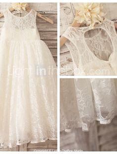 Princess Ivory Hole Back Floor-length Flower Girl Dress - Lace Sleeveless 2016 – $59.99