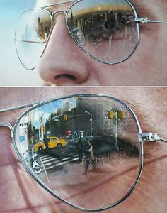 Hyper-realistic paintings of famous landmarks reflected in tourists' sunglasses by Simon Henessey- this is unbelievably clever!!!!