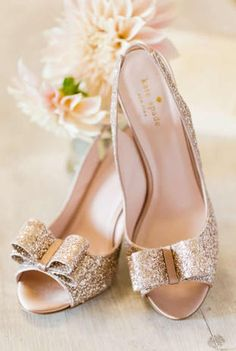 How cute are these flashy bridal shoes! {Katelyn James Photography}
