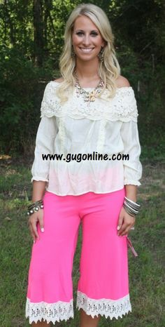 Story Of A Girl Neon Pink Capri Pant with Ivory Trim $32.95 www.gugonline.com