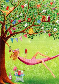 Reading in the Garden by Mila Marquis [ colorful artwork of a woman reading in a hammock with a table nearby with cool drinks and in the tree above colorful flags in a banner and a squirrel reading a book and a cat reading a book] Art And Illustration, I Love Books, Whimsical Art, Book Lovers, Book Worms, Illustrators, Book Art, Artsy, Drawings