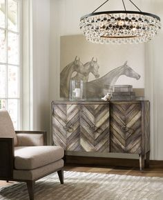 Organic inspiration in surfaces and colors is front and center for furnishings like the Chevron Console. Hooker Furniture, Accent Furniture, Living Room Furniture, Buffets, Furniture Catalog, Affordable Furniture, Furniture Manufacturers, Autumn Home, Boho Decor