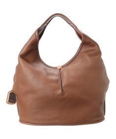 Look at this #zulilyfind! Dark Auburn Classic Leather Hobo #zulilyfinds