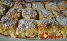Tento recept je starý, overený a nesmierne chutný. Kysnutý tvarohový koláč s jablkami sa nedá s ničím porovnať, je jednoducho famózny. Apple Pie, Sweet Recipes, French Toast, Good Food, Food And Drink, Sweets, Baking, Breakfast, Glass