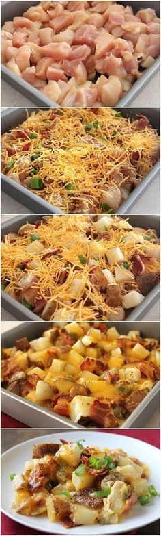 Easy Baked Potato And Chicken Casserole. LOADED With Chicken Breast Crispy Smashed Potatoes. I Topped With Cheddar Cheese For The Perfect Brunch Casserole!