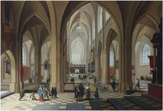 1599-1642, Peeter Neeffs the younger (1620-1675) and Frans Francken II (1581- 1642)The interior of a gothic cathedral, with elegant figures conversing and a priest taking mass. 	oil on panel,41.9×59.7cm.Sold at Christie's on 25-26.11.2014, Amsterdam, lot 80.