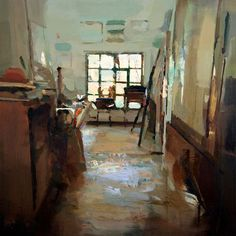 Carlos san millan Interior #125. Oil on wood, 60 x 60 cm. Private collection.