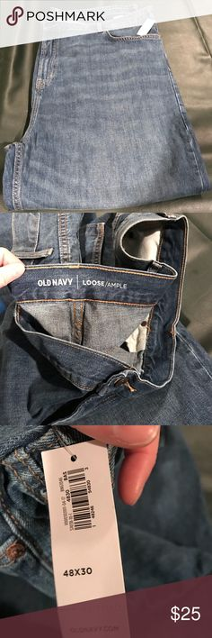 Brand new Old Navy jeans Never been worn. Tags are still attached just too long for me! Cute faded look. Loose style Old Navy jeans size is 48x30 Old Navy Jeans Relaxed