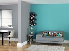 modernes wohnzimmer wandgestaltung grau rote blaue muster ... - Wandgestaltung Wohnzimmer Blau