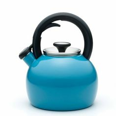 KitchenAid Teakettle 2-Quart Porcelain Enamel on Steel Globe Kettle: This 2 quart teakettle features a convenient squeeze and pour handle for easy, one-handed operation. The whistle is loud and clear to alert you when water comes to a boil and has a removable lid for easy cleaning and filling.