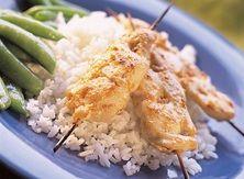 Peanut Chicken Satay with Rice and Sugar Snap Peas
