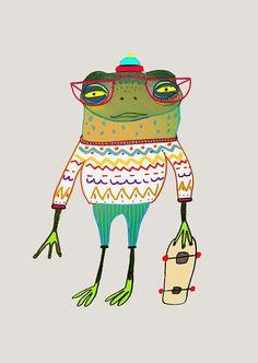 Frog Skater Art Print. Children Wall Art, Kids Art Print, Nursery Art,