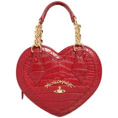Vivienne Westwood Women Dorset Heart Embossed Faux Leather Bag (€375) ❤ liked on Polyvore featuring bags, handbags, purses, red, vegan leather purses, red handbags, vegan handbags, croc handbags and croc embossed handbags