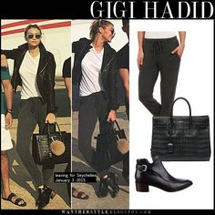 Gigi Hadid in grey sweatpants, black leather jacket, white tee, black ankle boots and croc tote