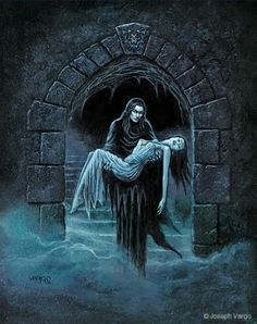Enter the realm of gothic fantasy artist Joseph Vargo, a chilling, mist-shrouded world of forlorn ghosts, brooding vampires, living gargoyles and other creatures of the night. Arte Horror, Gothic Horror, Horror Art, Vampire Pictures, Vampire Pics, Gothic Artwork, Gothic Fantasy Art, Vampires And Werewolves, Vampire Art