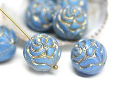 4pc Blue Rose Bud beads, Gold wash rose flower round bead, czech glass double sided design puffy rose - 13mm - 0569 by MayaHoney on Etsy