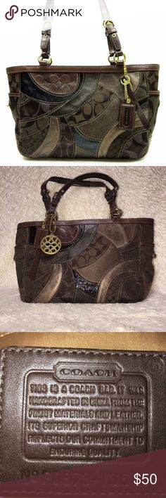 Brown Patchwork COACH Tote 100% Authentic Coach Purse......Style is GALLERY PATCHWORK MOSAIC BROWN TOTE  no. F0873-13516 in good preowned condition Coach Bags Totes