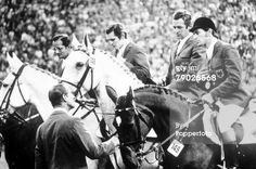 West German gold medal equestrian team  Fritz Ligges and Robin  Gerhard Wiltfang and Askan  Hartwig Steenken and Simona  Hans Günter Winkler and Trophy