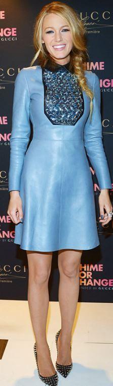 Blake Lively: Dress – Gucci  Shoes – Christian Louboutin