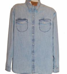 Jachs New York Blue Indigo Jeans Cotton Casual Men's Classic Fit Shirt Sz 2XL  #JachsNewYork