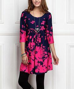 Look what I found on #zulily! Navy & Fuchsia Floral Empire-Waist Tunic Dress - Plus Too #zulilyfinds