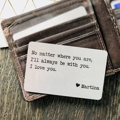Personalized Metal Wallet Insert Card with any Text / Quote, Christmas Gift for Boyfriend Girlfriend Husband Wife, Printed on Aluminium Business Card Photo Personalized Metal Wallet Insert Card with Love Quote Long Distance, Christmas Gift for Boyfriend Girlfriend Husband Wife,