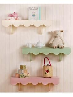 Pastel shabby chic shelves in child's room . Wish I could find something like this for my babies room