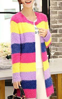 Colored Scoop Neck Long Sleeve Color Block Mohair Women's Cardigan