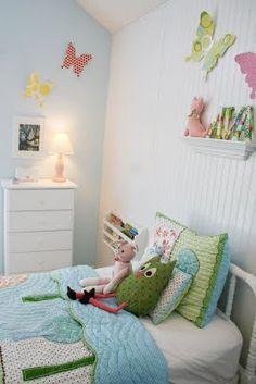 Ava's room--with her beadboard wall!
