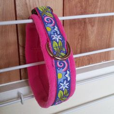 25mm Side Release Collar on Cerise cushioned webbing and Blue Summer ribbon lined with Cerise fleece.