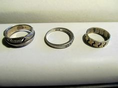 Vintage Sterling Silver .925 Rings-Lot of 3-CZ #Bands