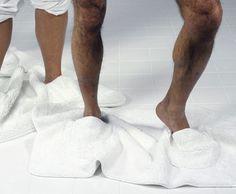 Mat Walk: A Bathroom Mat With Built In Slippers