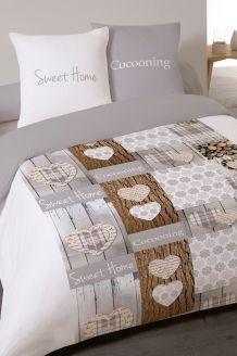 Parure de couette en flanelle de coton Noble - Gris et blanc Comforters, Sweet Home, Quilts, Blanket, Bed, Furniture, Home Decor, Flannel, Bedroom