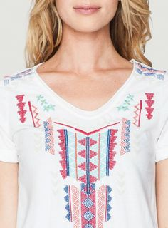 Detail: Johnny Was Ruby Short Sleeve Embroidered Trapeze Sweatshirt Tee #geometric #aztec #southwest #embroidery #design