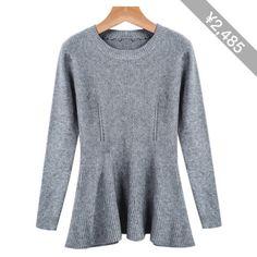 Grey Long Sleeve Ruffle Knit Sweater