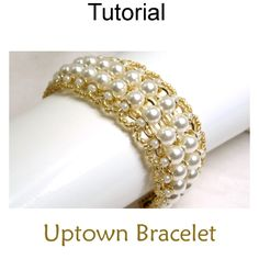 Uptown Beaded Chain Bracelet Easy Beginner Downloadable Beading Pattern Tutorial