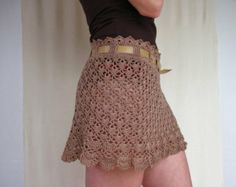 Beach Summer Lace Skirt Camel Colour with Handmade Leather Belt Merserize Cotton