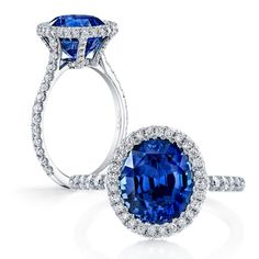 LAURIE is a custom, traditionally handcrafted Jean Dousset Diamonds signature diamond engagement ring design - JeanDousset.com - shown with an Oval cut Blue Sapphire.