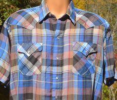 fe9058bd vintage 80s shirt plaid WESTERN blue brown short sleeve pearl snap rockstar  cowboy Large Cowboys Shirt
