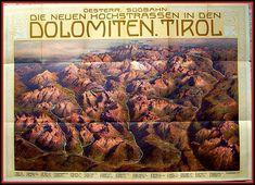 Gustav Jahn Reliefkarte Poster Lithographie Dolomiten Tirol