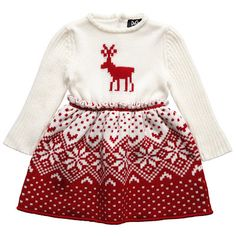 D&G Red and Ivory Wool Knit Fairisle Reindeer Dress Knitting Baby Girl, Kids Knitting, Knitted Jackets Women, Red And White Dress, Cute Little Girl Dresses, Little Fashionista, Stylish Kids, Knit Jacket, Girls Sweaters
