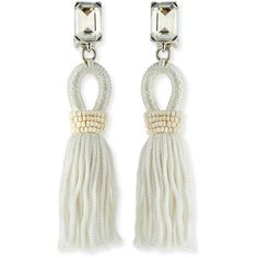 Oscar de la Renta Short Swarovski® Crystal Loop Tassel Earrings ($390) ❤ liked on Polyvore featuring jewelry, earrings, white, oscar de la renta jewelry, swarovski crystals earrings, oscar de la renta, loop earrings and tassel jewelry