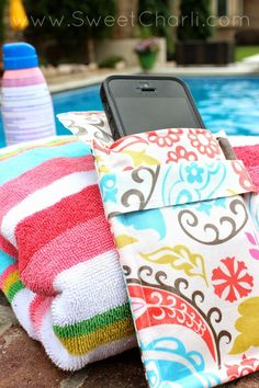 Sewing – Water resistant phone pouch #oilcloth #fabric #sew. Id use pul as a…