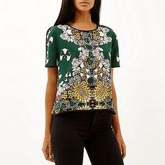 Green floral print top