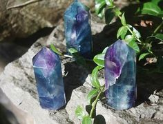 Rainbow Fluorite Standing Point - pagan wiccan witchcraft magick ritual supplies