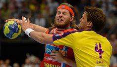 Mikkel Hansen // ehem. AG Kopenhagen, jetzt: Paris SG Handball // dän. Nationalmannschaft im Zweikampf mit Torsten Laen // Füchse Berlin beim Final4 in Köln 2012.    repinned by someid.de