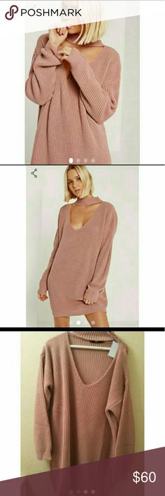 Blush choker slouchy sweater Blush choker slouchy sweater size s/m can fit both size loose fitting . I got it from missguided not listed brand . It's not pink the color is exactly like pictures LF Sweaters