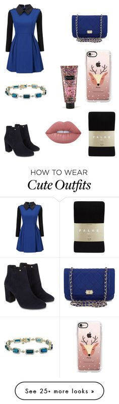 """Christmas party outfit"" by squishycake on Polyvore featuring WithChic, Falke, Monsoon, Chanel, Casetify, Lime Crime and Victoria's Secret"