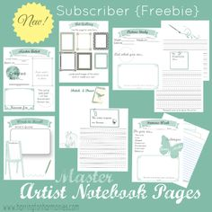 #FREE Artist Notebook Pages 10 Page Artist Notebooking Pack. These pages can be used for ntoebooking on multiple master artists offering a variety of types of pages to add to your notebook. Minimal color for easy but attractive printing. | Hip Homeschool Moms #FreebieFriday
